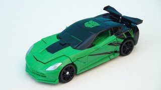TRANSFORMERS 4 CROSSHAIRS CORVETTE 1-STEP CHANGERS VIDEO TOY REVIEW