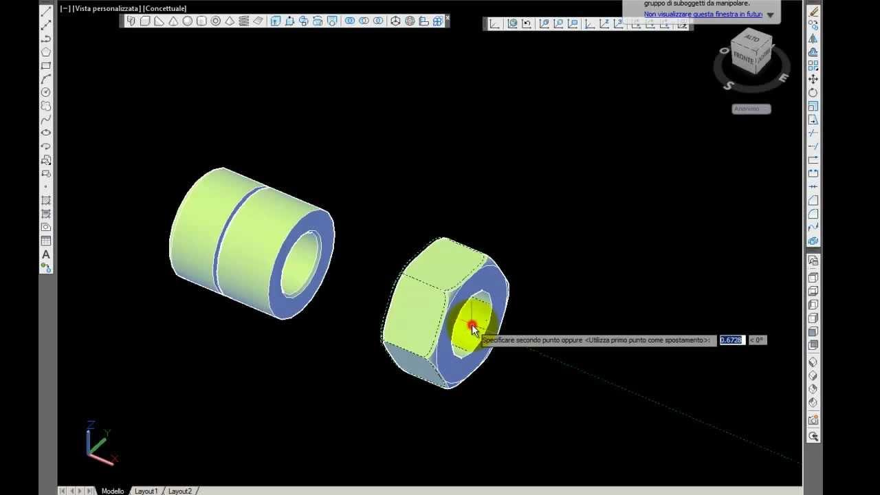 Corso autocad 3d realizzare bullone 3d youtube for Disegno 3d free