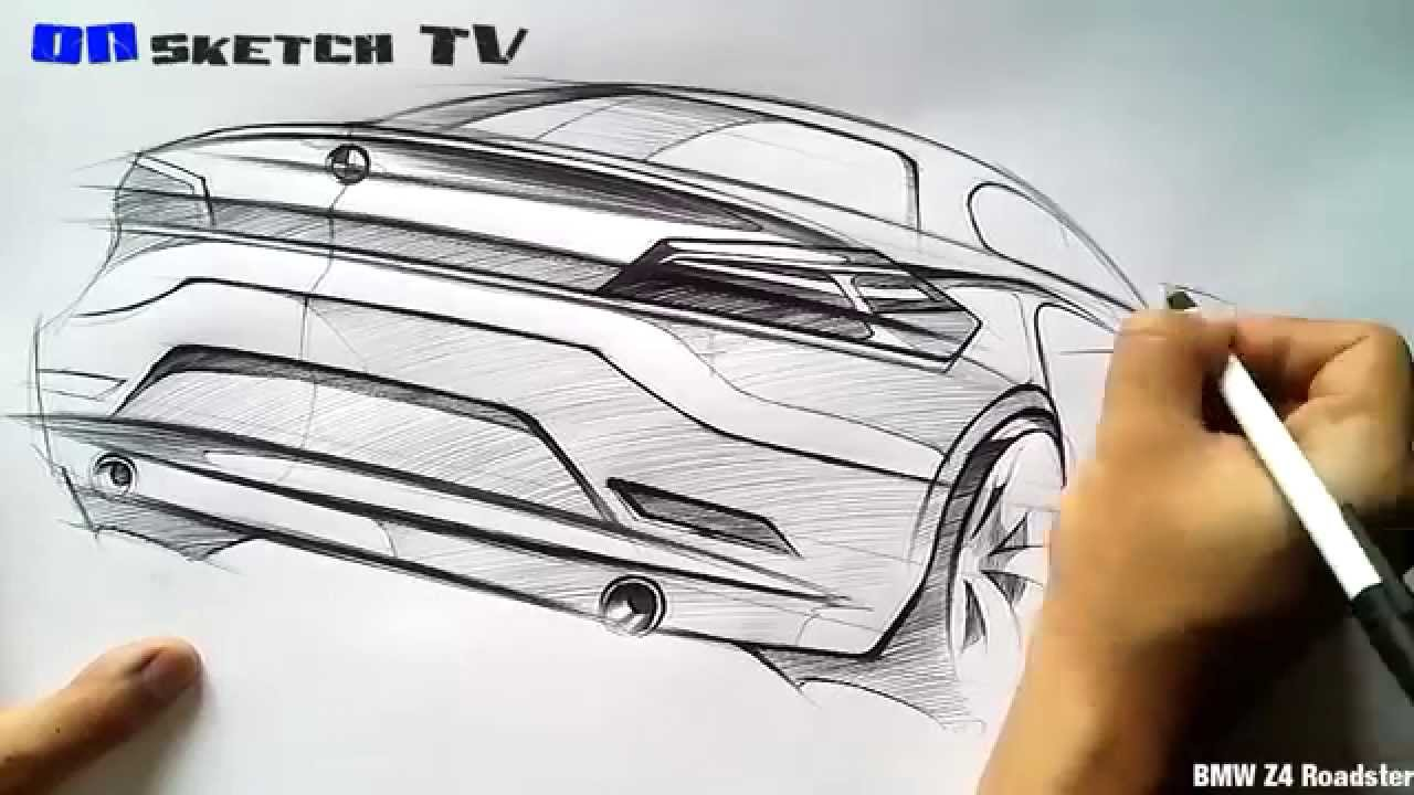 온스케치 Tv Car Sketch Quot Bmw Z4 Roadster Sketch Bic Ballpen