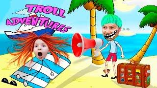 ТРОЛЛ выйграл ПУТЕВКУ НА МОРЕ смешное видео для детей про ПРИКЛЮЧЕНИЯ ТРОЛЛЯ kids children