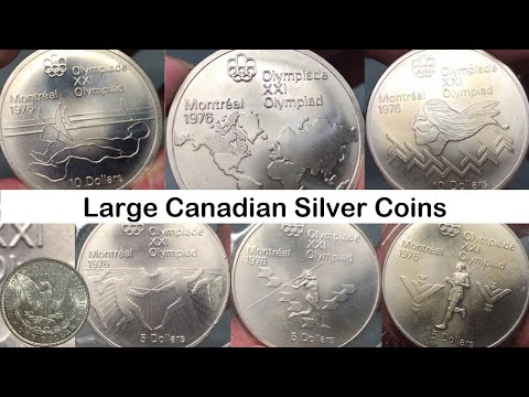 Large Canadian Silver Coins For Montreal Olympics