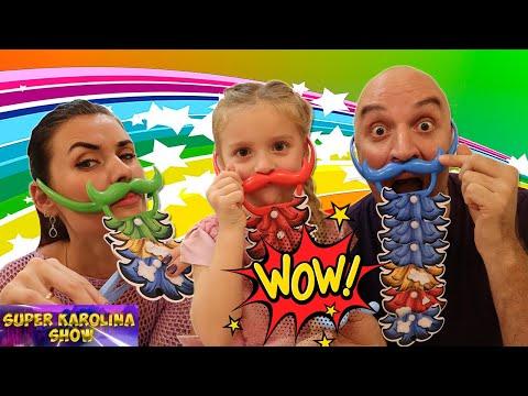 Игры для детей. Детская настольная игра битва бородачей. Детское видео.