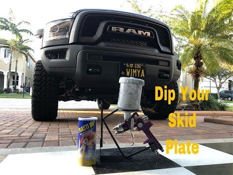 Ram Rebel Skid Plate PlastiDip using a HVLP Spray Gun.