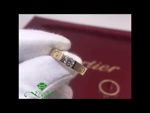 Обручальное золотое кольцо с бриллиантом 0.3 карата