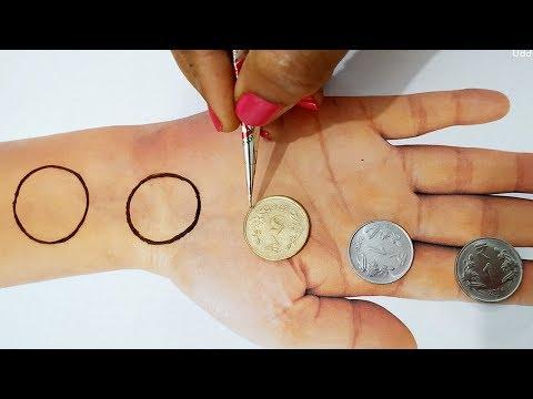 New Mehndi Trick from Coins - Easy Mehndi Design for Hands - होली और तीज,त्यौहार के लिए आसान मेहँदी