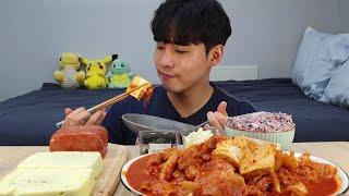 삼겹두배김치찜 통스팸 계란찜 리얼사운드 먹방 kimch…