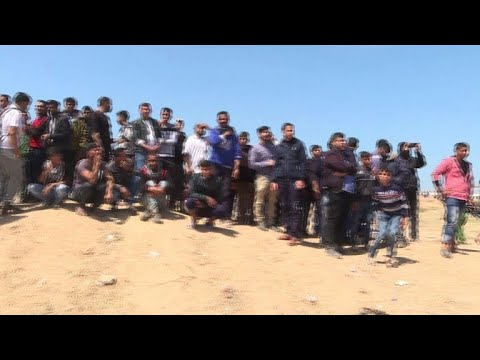Gaza protesters gather at the border with Israel