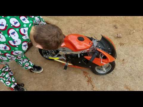Thumbnail: Kid gets a pocket bike For Christmas 49cc Rosso motor