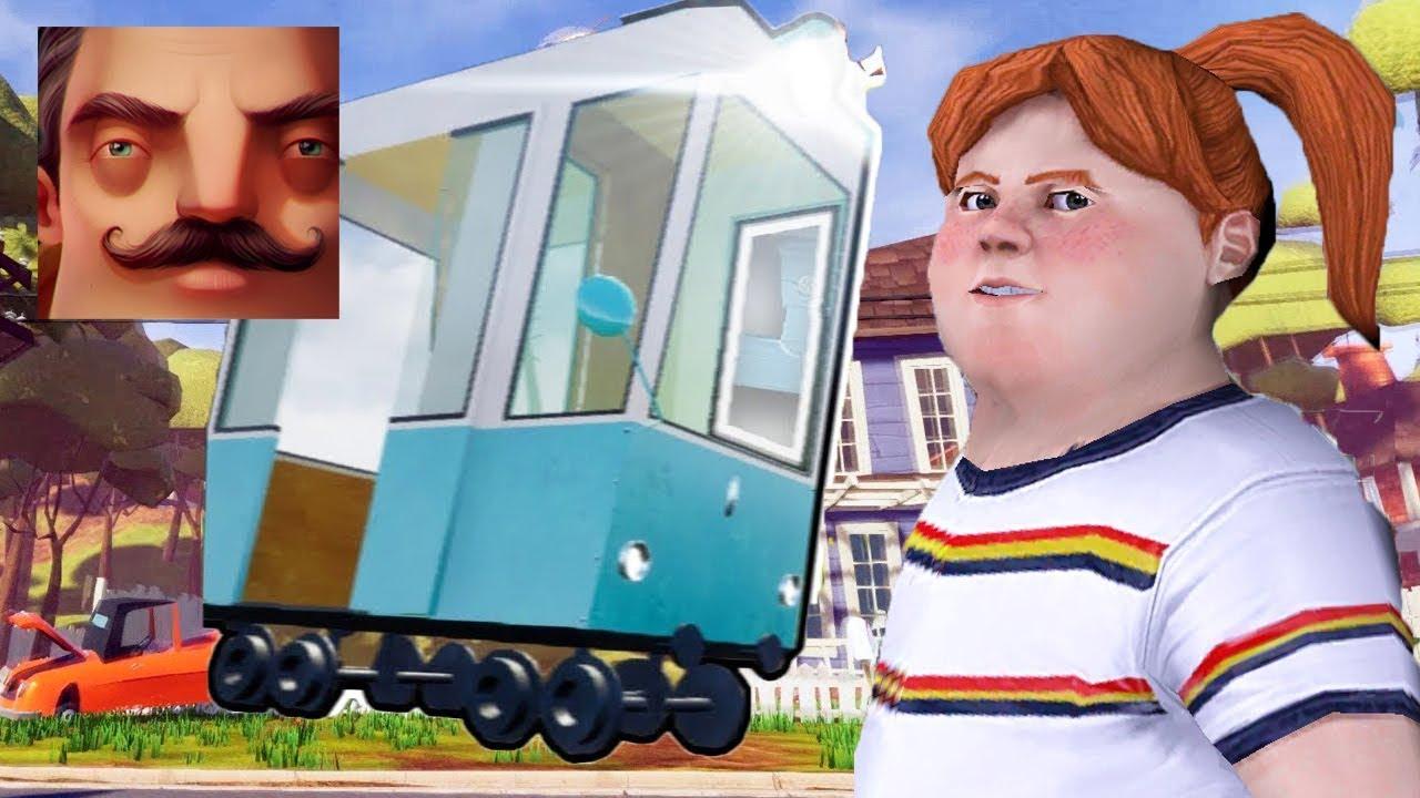 Hello Neighbor - Train knocked down a neighbor Lis Ice Scream 2 Act 3 Gameplay Walkthrough