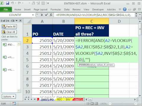 Excel Magic Trick 607: Match 3 Lists: Matching Accounting Documents PO, Receiving & Invoice