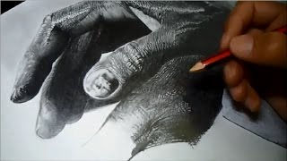 Speed drawing - Realistic graphite hands. Part 1