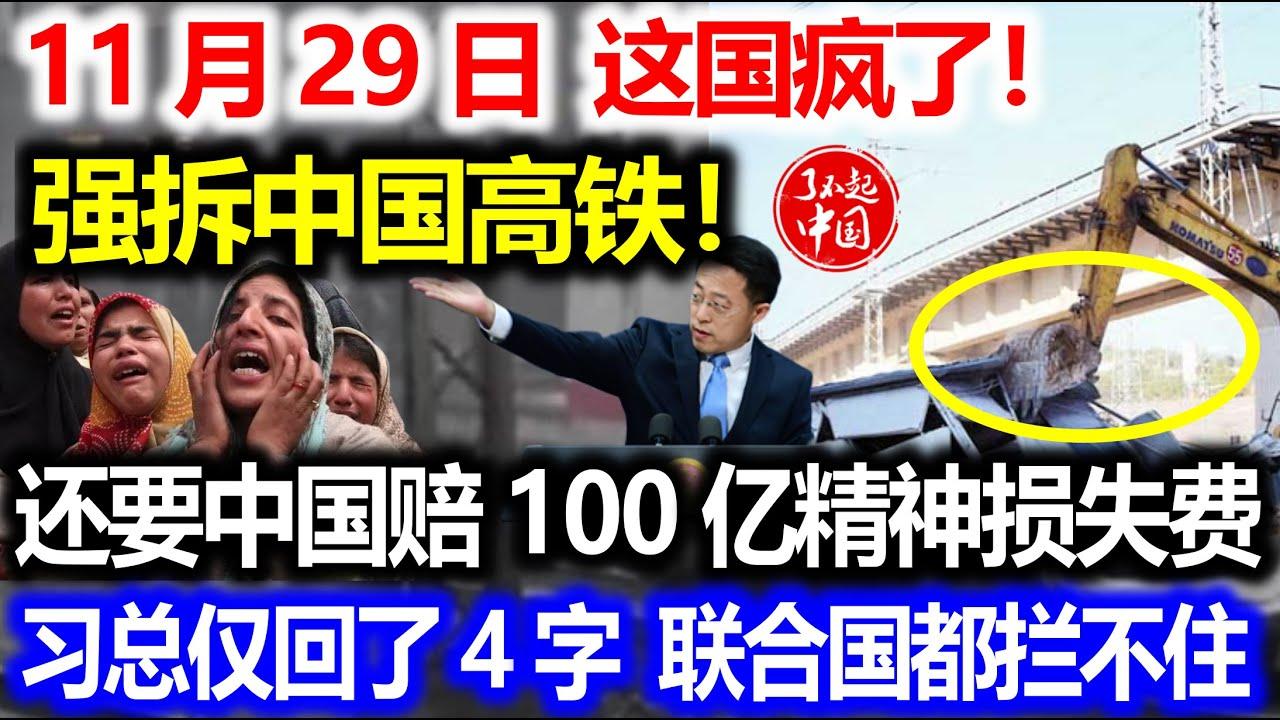11月29日,这国疯了!强拆这国高铁!还要中国赔100亿精神损失费!习总仅回了4字,联合国都拦不住!