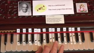 Omkaram Bindu Samyuktam Mantrasingen Lern-Video mit sichtbaren Harmoniumtasten und Noten 407