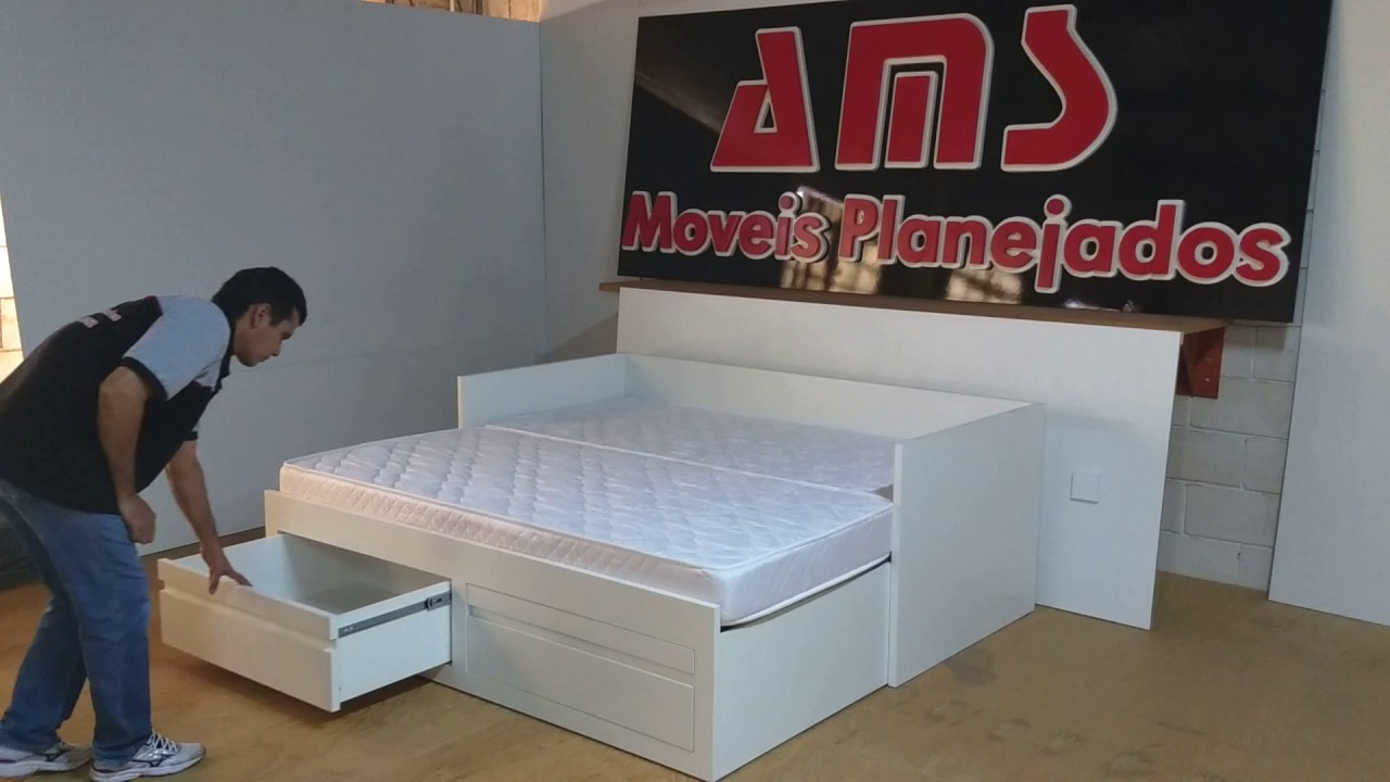 Cama de solteiro que se transforma em cama de casal com os for Camas de 1 20