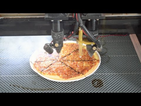 Cutting a Pizza with 150W (150000mW) laser!