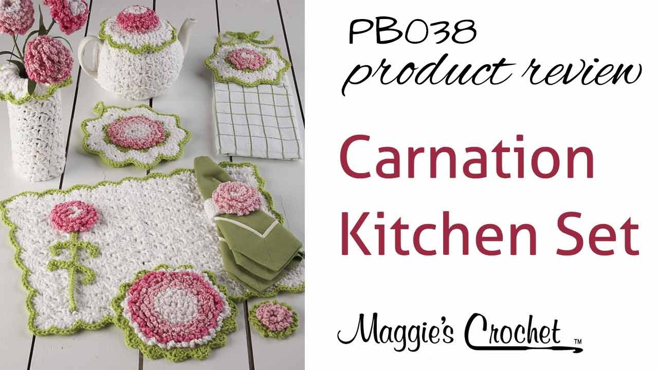 Carnation Kitchen Set Crochet Pattern Product Review PB038 - YouTube