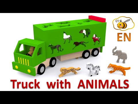 Thumbnail: Trucks for children. Learn wild animals in English! Cartoons for babies 1 year