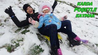 Lina'nın İlk Kartopu Savaşı Karda Poşetle En Tepeden Kaydık Lina Eve Dönmemek İçin Çok Ağladı