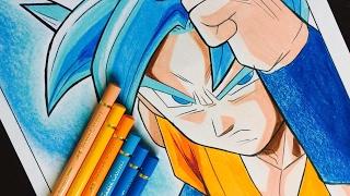GOKU SUPER SAIYAN BLUE (Polychromos) - How Do I Draw