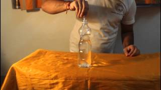 how to pull up a water filled bottle with a drinking straw
