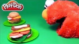 Play Doh Chef Elmo Sesame Street Lunch Playdough Sandwich Cook with Elmo