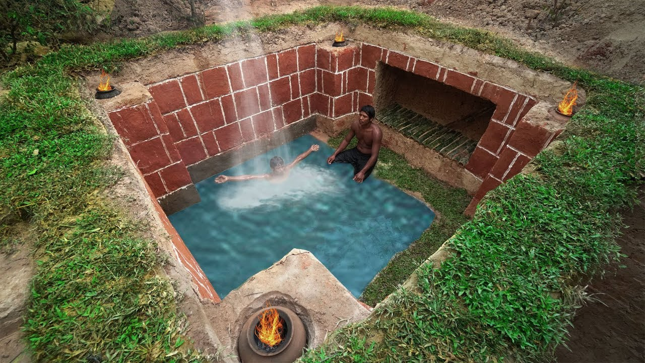 Build The Most Secret Ancient Underground House And Swimming Pool