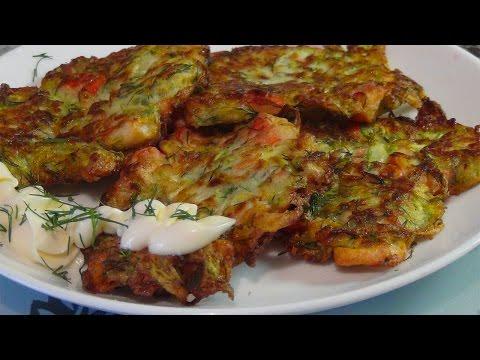 Рецепт Оладьи из кабачков с крабовыми палочками без регистрации
