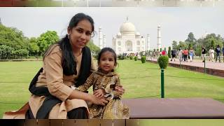 DELHI & AGRA Vlog Part-1/Travelling with baby/Mathura,Agra- Tajmahal,Akshardham Temple,Water show