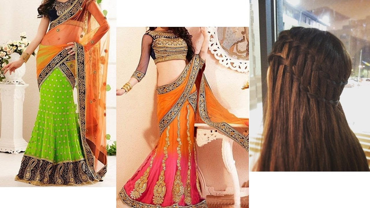 💇lehenga style saree draping with makeup and hairstyle for