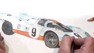 Porsche 917, colored pencil drawing in time lapse.