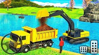 덤프 트럭 2021에 강 모래를 적재하는 무거운 굴삭기-Android 게임 플레이