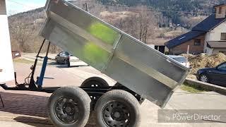 Przyczepa wywrotka tandem 2.5t ocynk silownik i hamulec hydrauliczny 4x4 traktor mauzer