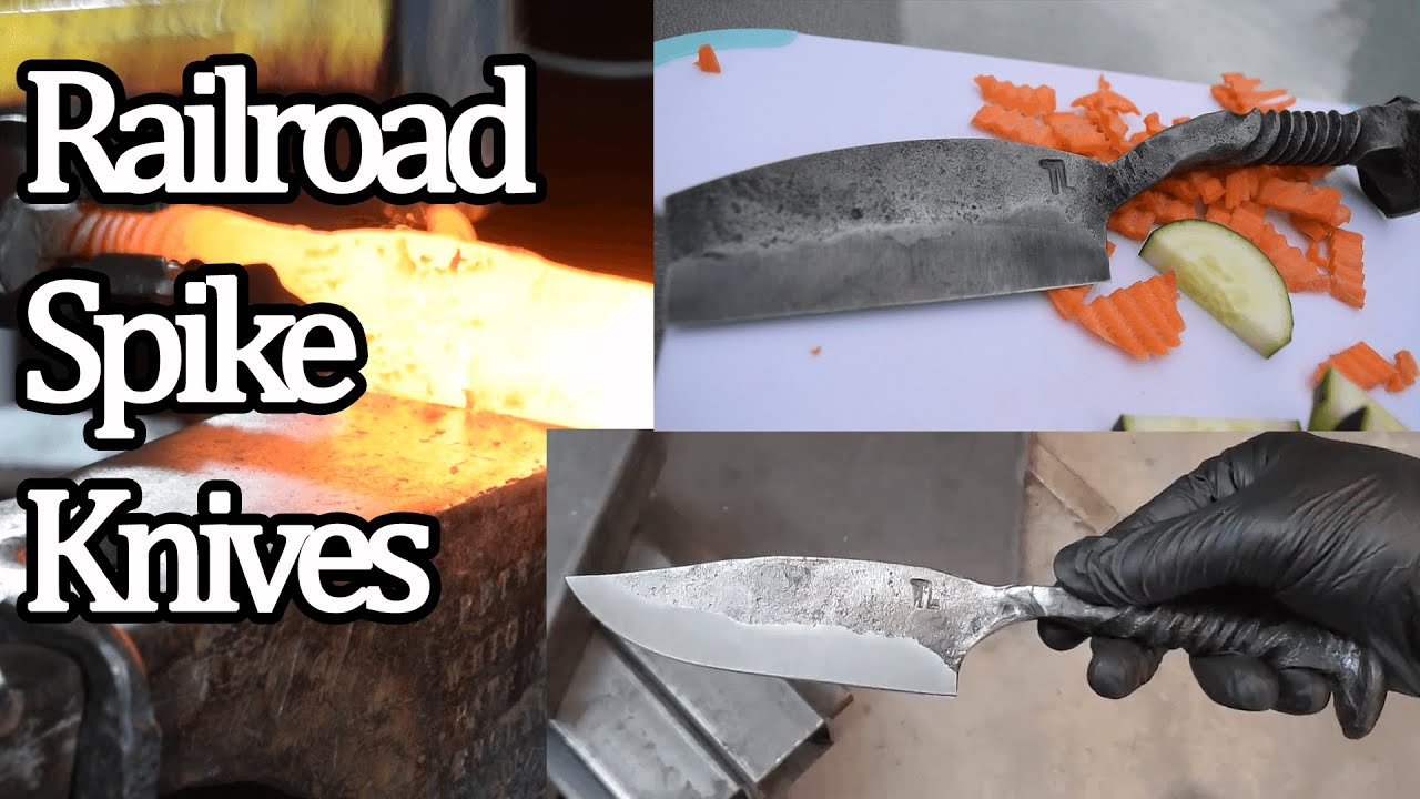 Railroad Spike Knives with Forge Welded Bits!