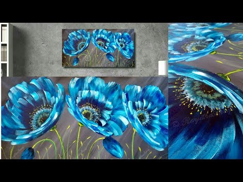 SIMPLE Abstract Floral Painting on Canvas – Painting Techniques – Painting Lessons – Day #28