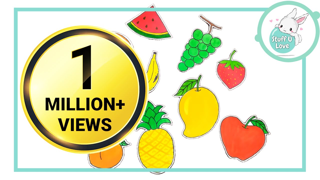 How To Draw 10 Easy Fruits Drawing For Kids Using Simple Shapes