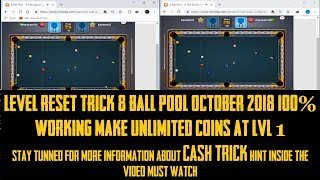 WORKING LEVEL RESET TRICK 8 BALL POOL OCTOBER 2018 100% WORKING CASH TRICK HINT IN VIDEO