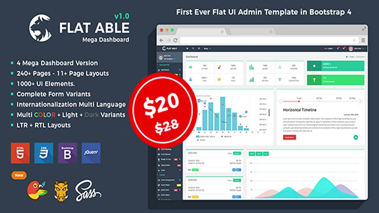 Flat Able - Bootstrap 4 Admin Template | Themeforest Website ...