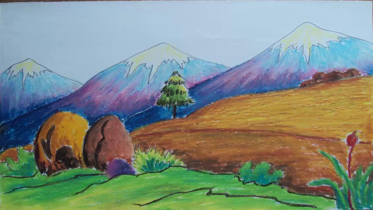 how to draw a mountain landscape with pastel colors youtube - Color Drawing Pictures