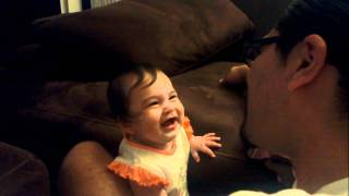 7 Month Old Baby Laughing At Daddy Eating Popcorn! So Cute!