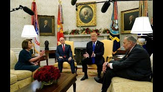 "Trump ""temper tantrum"": President spars with Pelosi, Schumer in Oval Office border debate"