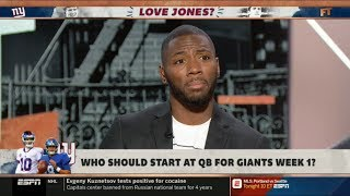 ESPN FIRST TAKE   Ryan Clark DEBATE: Who should start at QB for Giants week 1, Manning or Jones?