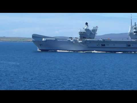HMS Queen Elizabeth departing Scapa Flow Orkney (best viewed in full screen)