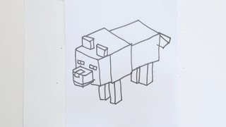 Learn how to draw minecraft dog/wolf