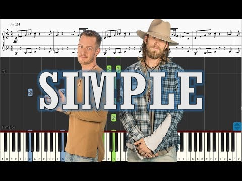 Florida Georgia Line - Simple - Piano Tutorial w/ Sheets