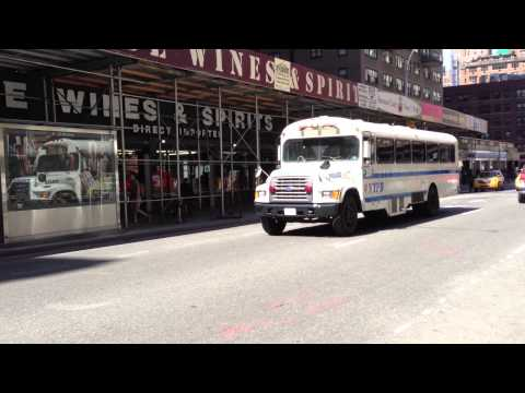 NYPD PATROL BOROUGH BRONX BUS AT E. 8TH ST. & BROADWAY DURING MAY DAY PROTESTS IN UNION SQUARE PARK.