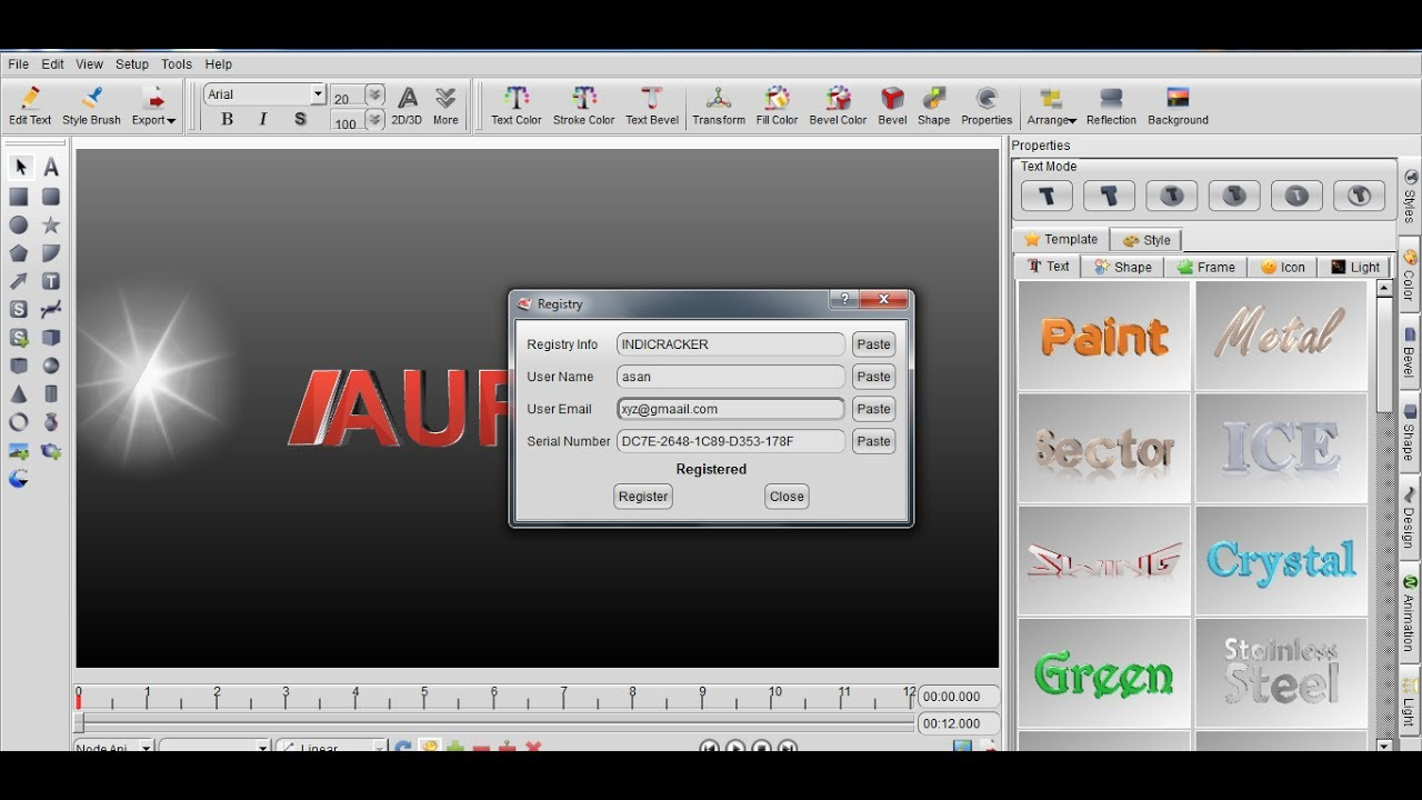 aurora 3d animation maker registry info and serial 17