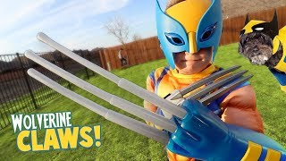 Wolverine Claws! Super Hero Gear Test & Toys Review for Kids!