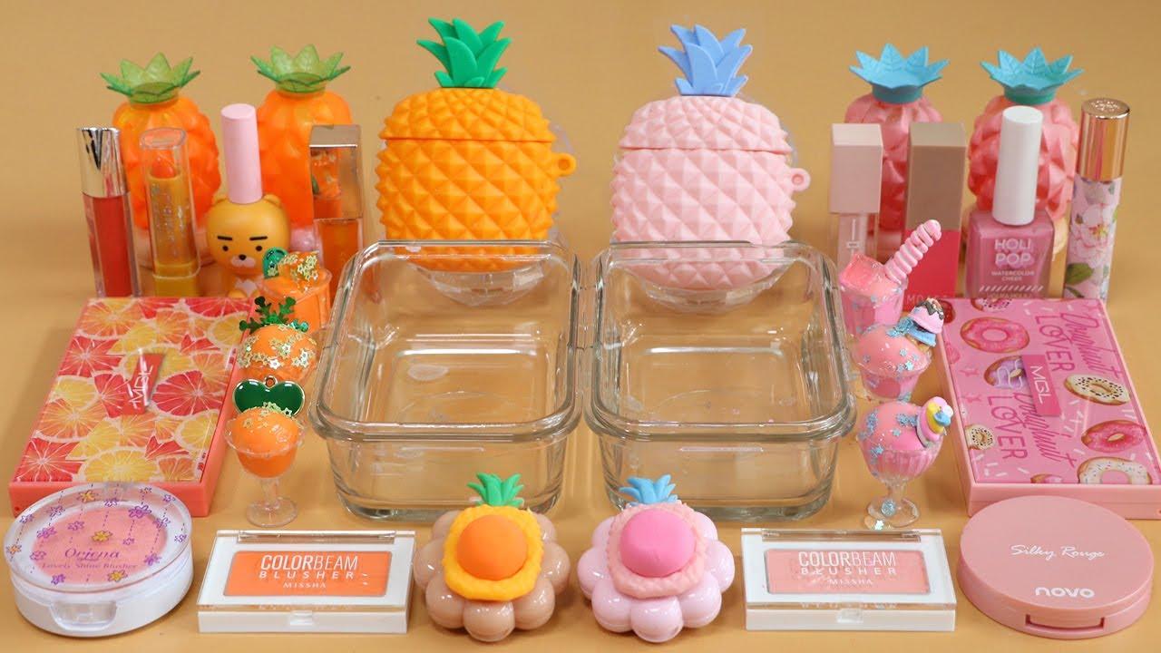 "Mixing""OrangePineapple VS PinkPineapple"" Eyeshadow and Makeup,parts,glitter Into Slime!★ASMR★"