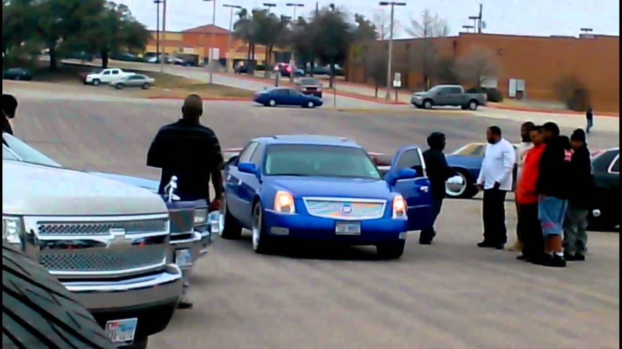 Candy Blue Cadillac DTS Tk Ridaz car show