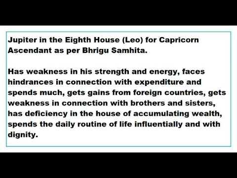 jupiter in 8th House for capricorn Ascendant as per Bhrigu